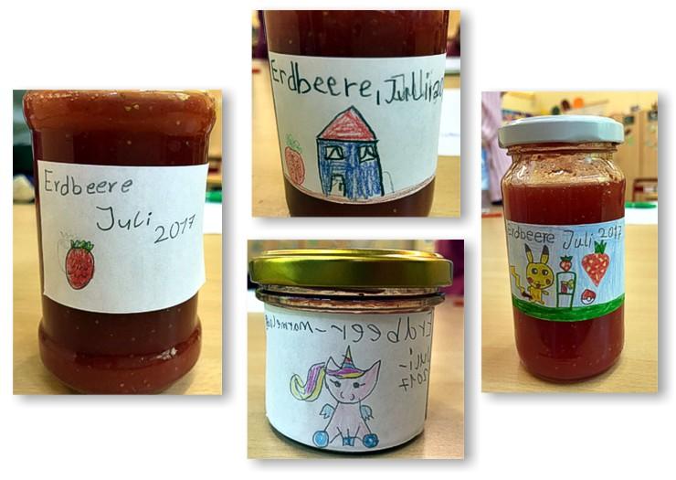 selbstgemachte Erdbeermarmelade und Etiketten